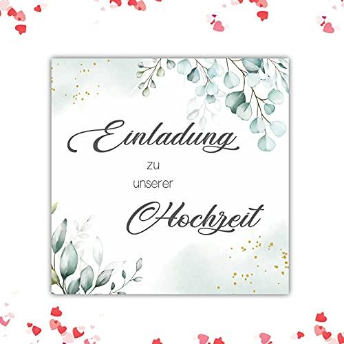 20 Stück Hochzeitseinladungen Einladungskarten Klappkarten Hochzeit Quadratisch eukalyptus 14,8 x 14,8 cm mit Umschlägen Hochzeit Einladungskarten Hochzeit Boho