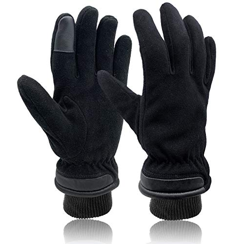 SKYDEER Touch Screen Deerskin Suede Leather Warm Winter Gloves For Driving Running Cycling and Cold Weather Work (SD8651T/L)
