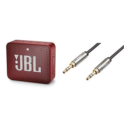 JBL GO 2 - Mini Enceinte Bluetooth Portable - Étanche pour Piscine & Plage IPX7 - Autonomie 5hrs - Qualité Audio JBL - Rouge & Amazon Basics Câble Audio stéréo mâle vers mâle 3,5mm - 2,4m