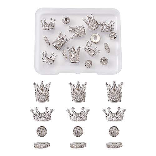 Fashewelry 16 unidades de caja de metal con forma de corona de bola plana redonda espaciadora de latón con circonita cúbica pavé colgantes para manualidades y bisutería, platino