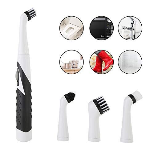 4 in1 Elektrische Sonic Scrubber Reinigungsbürste Haushaltsreinigungsbürste mit 4 Bürstenköpfen (Color : Black+White)