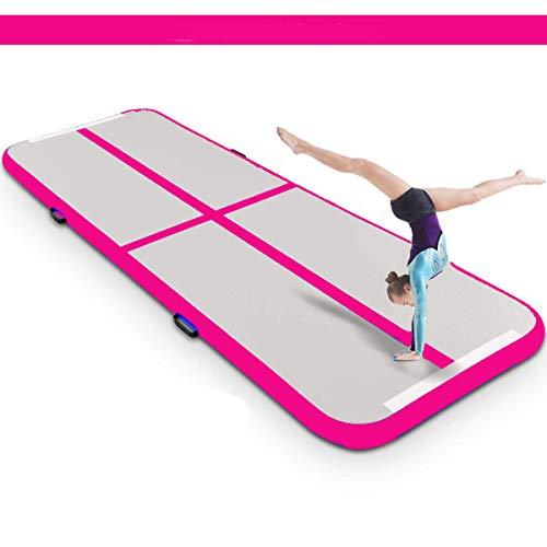 lucear Air Track Tappetino Gonfiabile Ginnastica Yoga per Palestra Casa con Pompa, Vari Colori Disponibili (Pink, 3x1x0.1M)