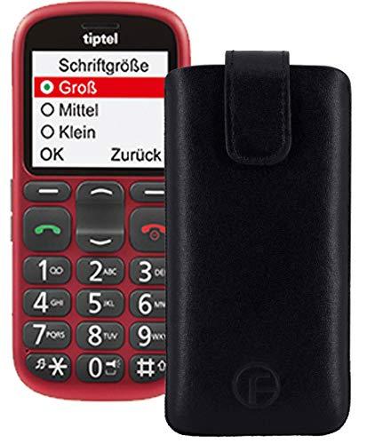 Favory Original Etui Tasche für TIPTEL Ergophone 6382 Leder Etui Handytasche Ledertasche Schutzhülle Hülle Hülle Lasche mit Rückzugfunktion* in schwarz