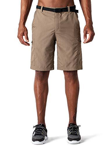 NAVISKIN Pantalones Cortos Convertibles de Senderismo UPF 50 para Hombre, Pantalón de Térmica Acampada Campismo Marcha, Nailon Ligero Secado Rápido, Caqui XL