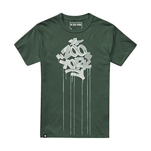 Zoo York Drips T-Shirt Gocce, Verde Cachi, M Uomo