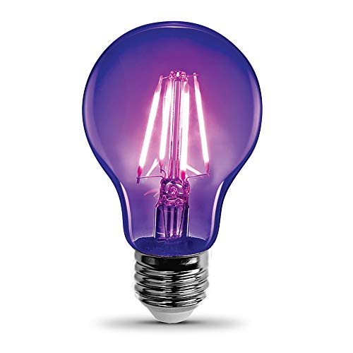 Feit Electric A19/BLB/LED 7 Watt Non-Dimmable Filament Glass A19 LED Light Bulb, Black Light for party, stage, special effects, halloween