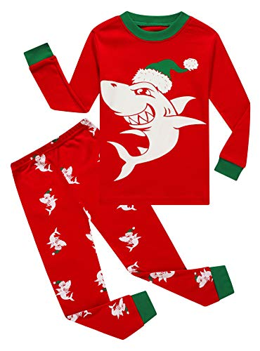 Christmas Glow in The Dark Shark Little Boys Long Sleeve Pajamas 100% Cotton Holiday Red Sleepwears Size 6
