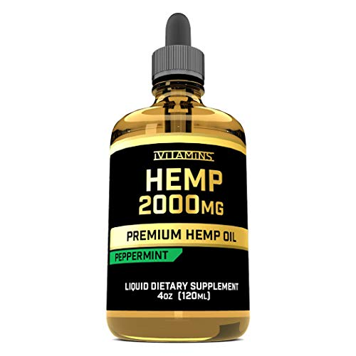 iVitamins Hemp Oil Drops : 2,000mg 4oz : May Help with Pain, Anxiety, Sleep, Mood, Depression, Headaches and More : Hemp Seed Extract : Rich in Omega 3,6,9 : Premium Hemp Oil : Peppermint Flavor