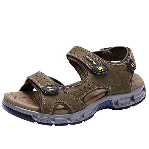 CAMEL CROWN Herren Outdoor Sports Sandalen Waterproof Wandersandalen Strand Ledersandalen Trekking Sommer Männer Sandalen Schuhe Klettverschluss 45 EU / 10 UK, Braun