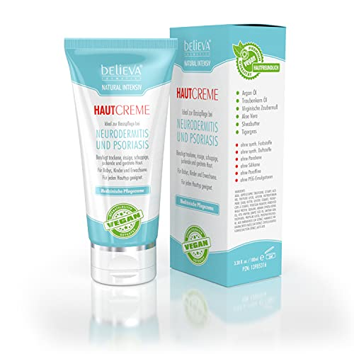 Believa Natural Intensiv Crema de piel - 100% Vegano - Para neurodermitis y psoriasis - 30ml