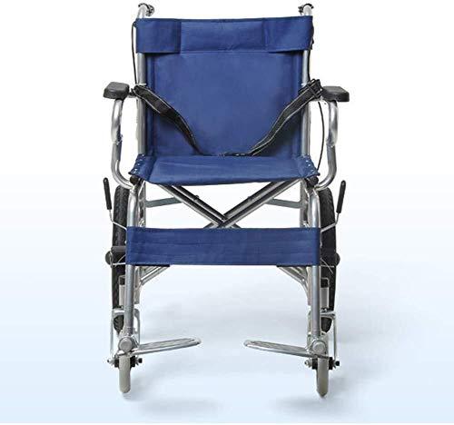 silla de ruedas Ligera silla de ruedas plegable de conducción médica, Silla de ruedas plegable portátil ultra ligero de ancianos de edad avanzada Pequeño carro cochecito cómodo