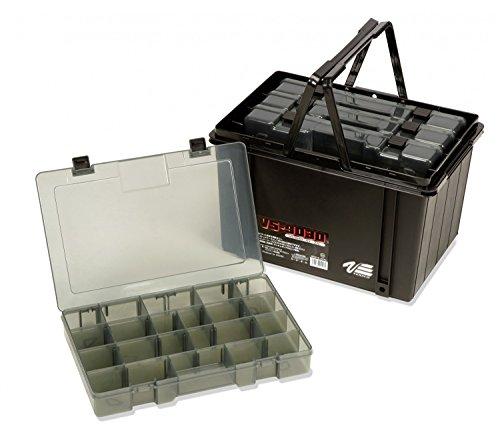 Meiho Versus VS 9030-4X Angelbox 33x22x5cm + Transporthilfe, Angelkasten 37x25x23cm, Angelkoffer mit 4 Boxen, schwarz