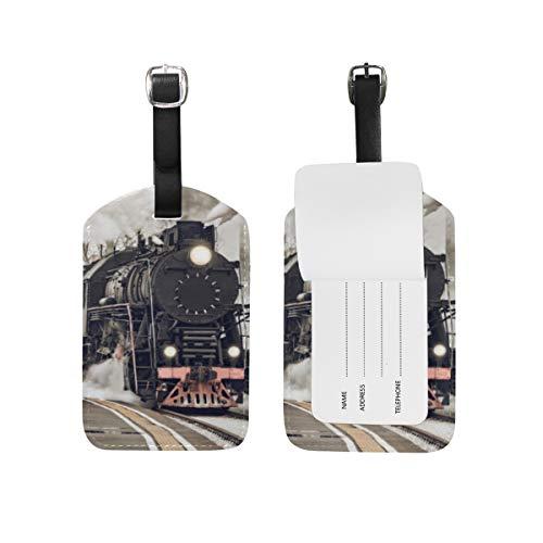 Etichetta per bagagli per bagagli Valigia Motore a vapore Tracce Treno Borsa da viaggio in pelle con fumo Etichette per indirizzo 1 pezzo