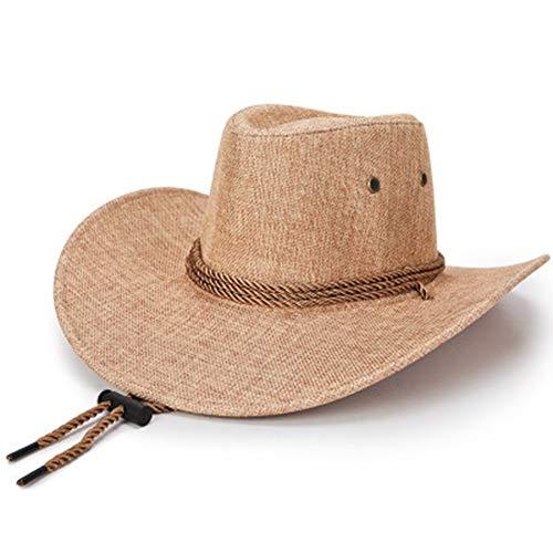 1 Stuk Hoed voor mannen Spring Summer Sun Hat paraplu Lino Western Cowboy Hat-Beige Fashion,C