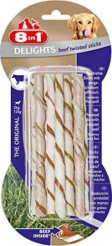 8in1 Delights Beef Twisted Sticks, gesunder Kausnack für sensible Hunde, (2 x 10 St.)