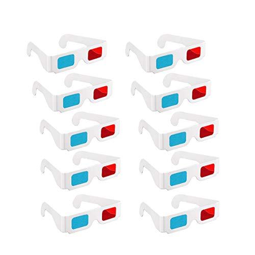 Gafas 3D 10 pares de gafas estéreo de papel rojo y azul para decoración de viajes y películas