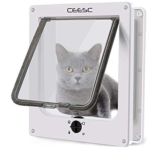 CEESC Große Katzenklappe, Magnetische Haustiertür mit 4-Wege-Drehverschluss für kleine Hunde und Katzen, Aktualisierte Version(L,Weiß)