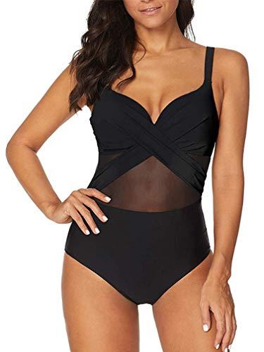 Achruor Badeanzug Damen Bauchweg V-Ausschnitt Sexy Einteiler Schwimmanzug Strandmode Bikini Push Up Bademode mit Shorts Schlankheits, Schwarz, XL (EU 42-44)