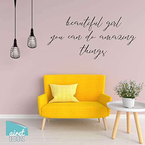 Ceciliapater V2 Sticker mural en vinyle avec inscription « Beautiful Girl You can do Amazing Things »