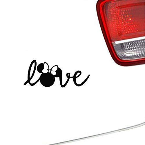 20cm hoch Mickey und Minnie Mouse Thema Autoaufkleber Minnie Mouse Love Signature Selbstklebende Aufkleber Autofenster Aufkleber Stoßstange Kofferraum Rückspiegel Tür Laptop Hot