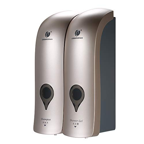 Decdeal 2-fach Seifenspender Wandbefestigung ohne Bohren 2 x 300ml Hygienespender Shampoospender Flüssigseifenspender für Duschgel Shampoo Seife
