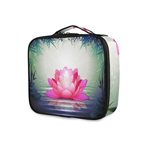 Stockage Beauté Portable Trousse De Toilette Maquillage Sac En Bambou Fleur De Lotus Outils De Voyage De L'eau Cosmétique Train Case