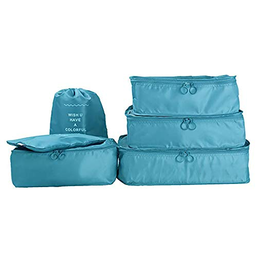 ROGF Travel Storage Bag Cubes Waterproof Compression Luggage Large Storage Toiletry Lightweight Bag 7 Set Travel Packing For travel (Color : Light Blue)