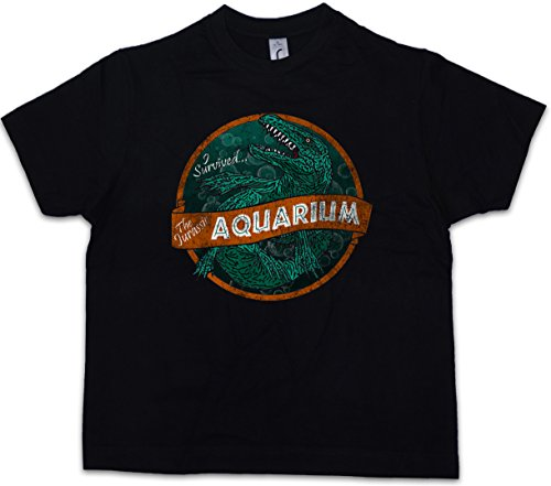 Urban Backwoods Survived Aquarium Kinder Jongens T-Shirt Zwart Maat