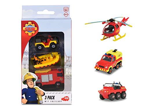 Dickie Toys Feuerwehrmann Sam 3 Pack, Set mit 3 verschiedenen Metallfahrzeugen, Spielzeugautos mit Freilauf, Jupiter/Mercury/Neptune, Venus/Hydrus/Wallaby, 2-fach sortiert