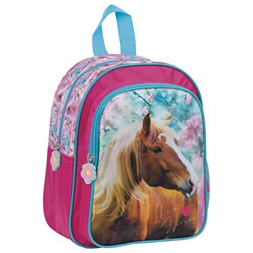 Pferde Fan Rucksack Kinderrucksack für Jungen und Mädchen (DER19) mit Hauptfach und Frontfach, 29 x 23 x 14 cm, blau/rosa