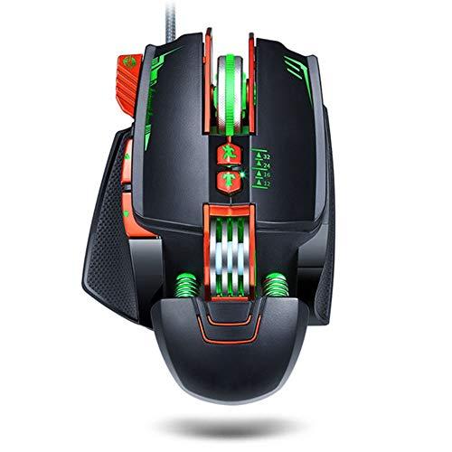Ratón ergonómico con cable para juegos, con retroiluminación, modos programables, USB, luminoso, para comer pollo, ratón con cable hasta Windows PC Gamers negro