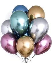 PartyWoo Metalliska ballonger, 50 st 30,5 cm glänsande ballonger i guld, röd, blå, lila, silver och grön, metallisk ballong för prinsessan Ariel-fest, små sjöjungfrufestdekorationer, rymdfest