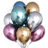 PartyWoo Globos Metalizado 50 Piezas 12 Pulgadas Globos de Oro Globos Rojos Globos Metálicos Azules, Globos Fiesta, Bodas, Cumpleaños, Fiesta de la Princesa Ariel, Fiesta de la Sirenita