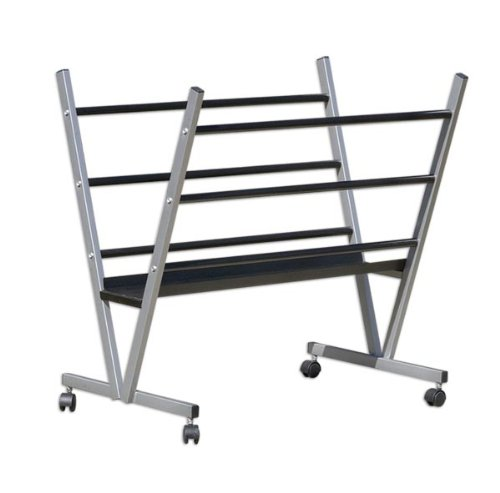 "Art Expo Metal Art Professional Print Rack, Holds Posters, Prints, Canvas Art for Shows & Storage, Mobile with Rolling Casters Size 22""Hx34""Wx6""D"