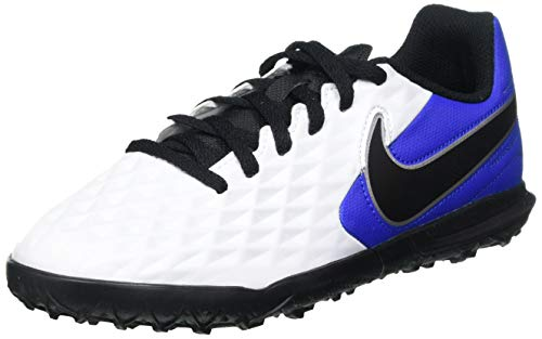 Nike Jr. Legend 8 Club TF, Football Shoe, White/Black-Hyper Royal-Metallic Silver, 38 EU
