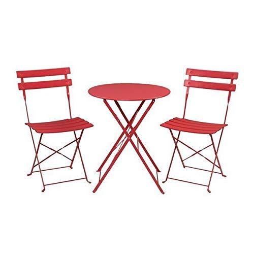 Yi-xir diseño Clasico Juego de Tres Piezas Plegables de Hierro 2 sillas 1 Mesa roja Comodo