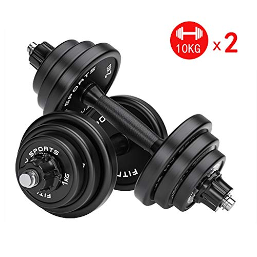 Summerone 20KG Dumbbells Pairs 3-44 lbs Adjustable Dumbbell Weight Set Barbell Lifting with 2...