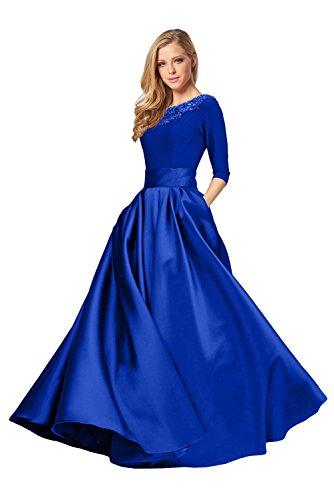 Promgirl House Damen Elegant A-Linie Abendkleider Ballkleider Festkleider HochzeitsParty Lang mit Aermel-42 Royalblau