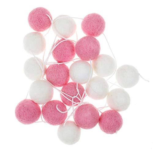 Mayitr Felt Ball Garland Handmade Pom Poms String Hanging Ornaments (White+Pink)