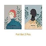 Nordic Modern Minimalist Fashion Fashion Flower Girl Canvas Art Painting Mural Living Room Decoration A4 21x30cm