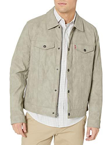 Levi's Men's Faux Leather Classic Trucker Jacket, Light Grey, Medium