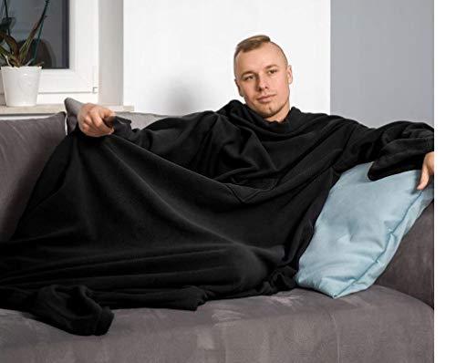 Soigné-deken met mouwen, premium deken met soigné-black(140 x 180 cm) perfecte warmte-isolatie - mouwdeken fleece warmtedeken HUKITECH zwart mouwen deken plaid
