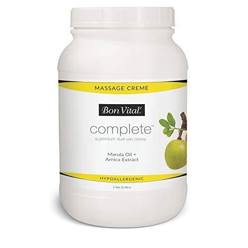 Bon Vital Complete Massage Creme, Premium Dual Use Cream for Hypoallergenic Professional Massages, Non Greasy Unscented Moisturizer Made with Marula, Olive, Avocado, Jojoba Oil, 1 Gallon