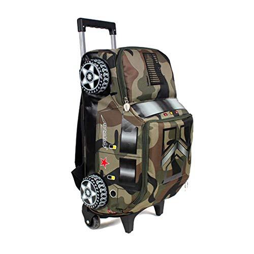 HCC/& 3D Boys Rolling School Backpacks 6 Wheeled Trolley Schoolbag Waterproof Removable Outdoor Travelling Kids Luggage,C