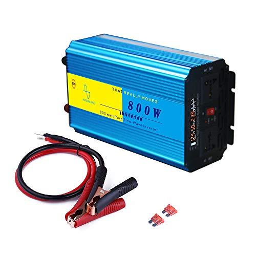 KKmoon Wechselrichter 800W Reiner Sinus Spannungswandler DC 12V auf AC 220V mit Kfz Zigarettenanzünder Stecker für Auto Computer Lampe Kamera Fernseher Rasiere Lüfter