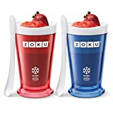 Zoku Slush and Shake Maker, Set of 2, Compact Make and Serve Cup with Freezer Core Creates Single-serving Smoothies, Slushies and Milkshakes in Minutes, BPA-free, Gift Box, Red and Blue