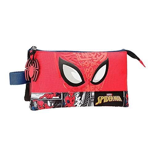 Marvel Spiderman Comic Astuccio triplo rosso 22 x 12 x 5 cm poliestere