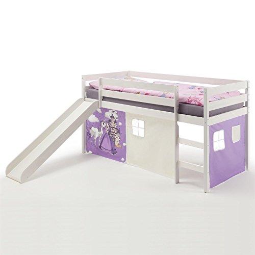 IDIMEX Spielbett Rutschbett Hochbett Benny, mit Rutsche in Kiefer massiv weiß, Vorhang in lila mit Prinzessinnenmotiv, Liegefläche 90 x 200cm