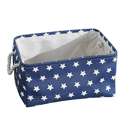 MRBJC Cesta de almacenamiento de tela plegable con asas, para guardar ropa, juguetes, guardarropa, caja de aperitivos y artículos de escritorio azul 31 x 21 x 13 cm