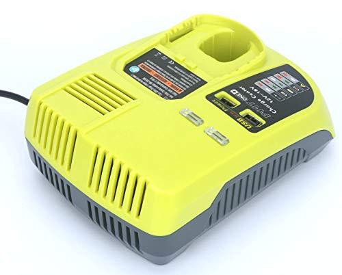 Tueddur Replacement Ryobi P117 Dual Charger Li-ion & Ni-cad Ni-Mh Battery Charger For 12V 18V P100 P102 P103 P105 P107 P108 1400670 P117 P118